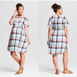 Isabel Maternity Pastel Plaid Gingham Button Dress